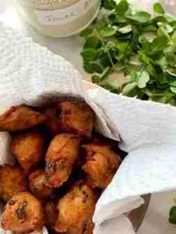 Jowar vada (sorghum fritters) with moringa leaves