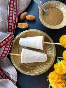 Quick malai kulfi with tahini caramel (sugar free)